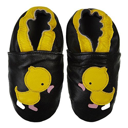 Ente Echte (SmileBaby Premium Leder Lauflernschuhe Krabbelschuhe Babyschuhe Schwarz Ente 12 bis 18 Monate)