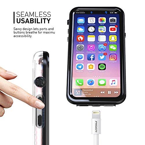 iPhone 8 Wasserdichte Hülle, FindaGift IP68 Outdoor Handyhülle Full Sealed Tasche Case Ultra dünn Full Body Staubdicht Stoßfest Schneedicht Anti-Kratzer Underwater Schutzhülle mit Displayschutzfolie f Schwarz