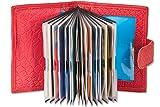 Rimbaldi® - XXL-Kreditkartenetui mit 22 Kartenfächer aus weichem, naturbelassenem Rinderleder mit Krokoprägung in Rot, Rot