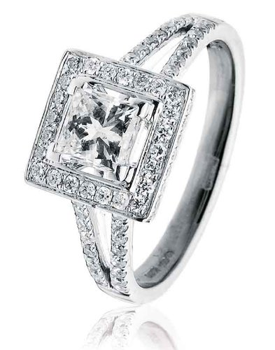 S2 Princess Cut Claw Set with Halo Diamond Ring with Split Diamond Shoulders in 18K White Gold ()