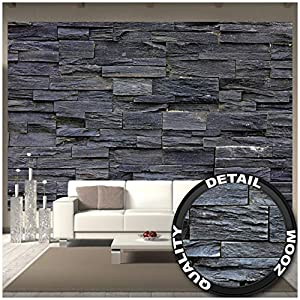 GREAT ART Fototapete - 3D Effekt Black Stonewall - Wandbild Dekoration Tapete in Steinoptik schwarz Steinwand Wohnzimmer 3D Tapete Stein Foto-Tapete Wandtapete (336 x 238 cm)