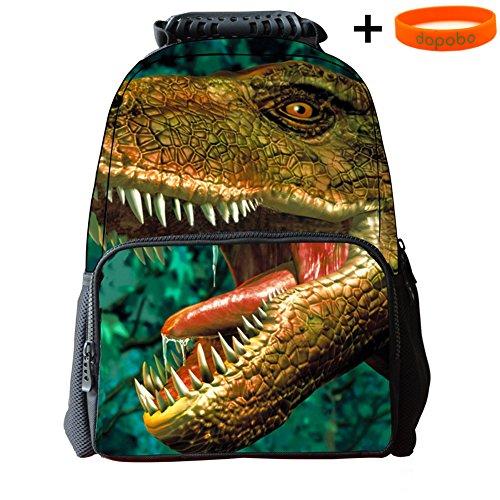 Dopobo 3D Sac à dos , Sac Scolaire de Animaux Imprimer , Sac de Voyage/Camping/ école/ Randonnée etc. pour Garçons Filles (dinosaure)
