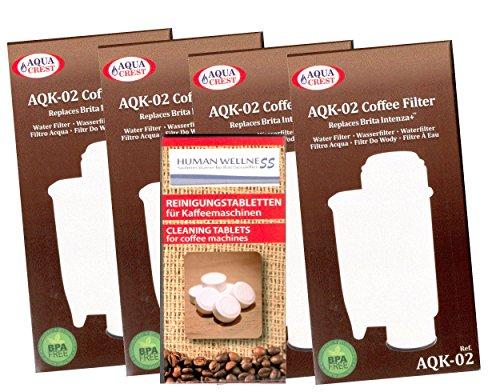 Human-Wellness 4 x Wasserfilter AQK-02 ersetzt Brita Intenza+ Saeco CA6702/00 *Qualität* Brita...