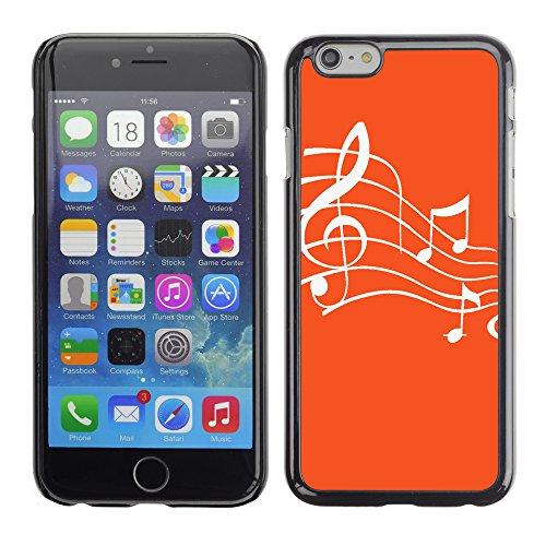 Graphic4You Musik Noten Muster Design Harte Hülle Case Tasche Schutzhülle für Apple iPhone 6 / 6S (Hellbraun) Orange
