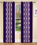 Home Luxurious Set of 2 Multi-color New Premium Design Eyelet Printed Window Curtains-Length 5Ft Width 4ft