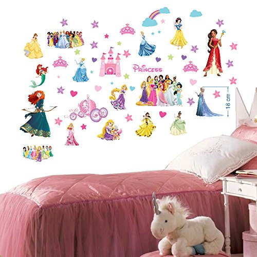 Disney Prinzessinnen Wandsticker für Schlafzimmer Jungen und Mädchen Wandbild Wandtattoo 70cm x 35cm x 2 Blatt vinyl (Wandsticker Mädchen Für Disney)