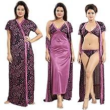 c9802eade0 TUCUTE Womens Satin Nightwear Set of 4 Pcs Nighty, Wrap Gown, Bra & Th..