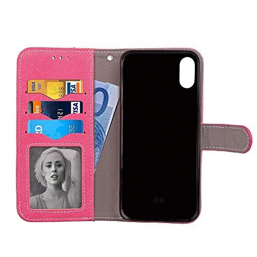 Mattes PU-Leder-Etui, Magnetisches Bookstyle-Folio-Stand-Shell-Cover mit abnehmbaren Karten-Aufbewahrung für iPhone X ( Color : Gray ) Rose