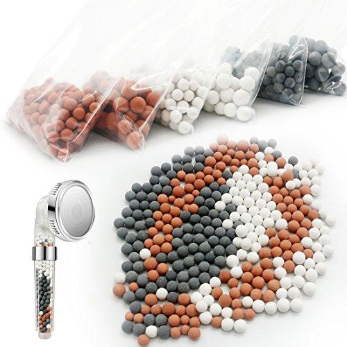 Enthält Antioxidans (6 Packungen Ionen Filtration Handbrause Bio-aktive Steine,Negative Ionen Mineralkugelchen Ersetzen,Gereinigtes Duschwasser zur Wiederherstellung der Haut und Haare)