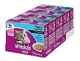 Whiskas Katzen-/Nassfutter Adult 1+ Fischauswahl in Sauce, 48 Portionsbeutel (4 x 12 x 100g)