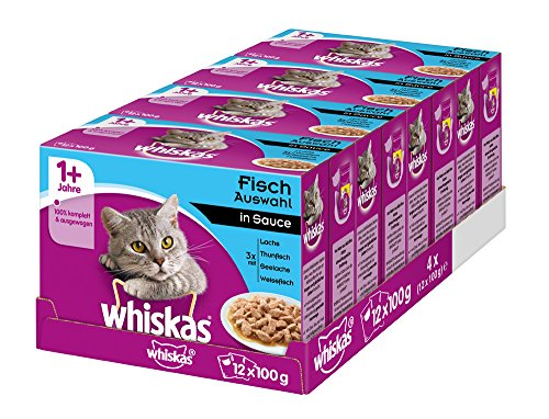 Whiskas Katzenfutter Nassfutter Adult 1+ Fischauswahl in Sauce, 48 Portionsbeutel (4 x 12 x 100g)