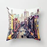 Lepilo New York City Cotton Canvas Throw Pillow Case Cover 18 x 18 inches Square Happy New Year Cushion Cover for Sofa P