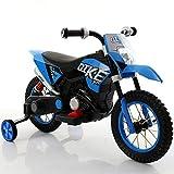 Moto Cross Motocicletta Elettrica Ruote Gonfiabili Blu 6V Per Bambini