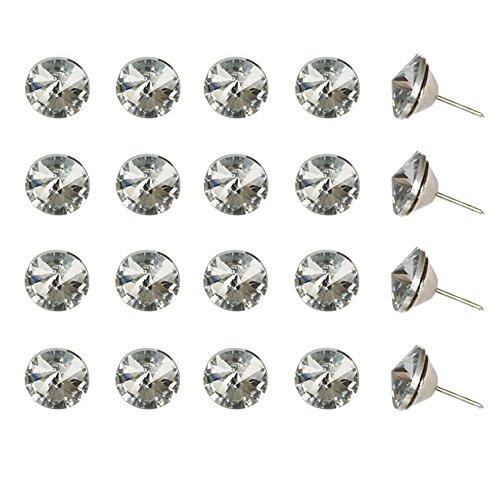 ideaker, Satellite Stein Sparkly Kristall Sofa Nail Button Sofa Kopfteil Decor Track 20Stück, silber, 30 mm -
