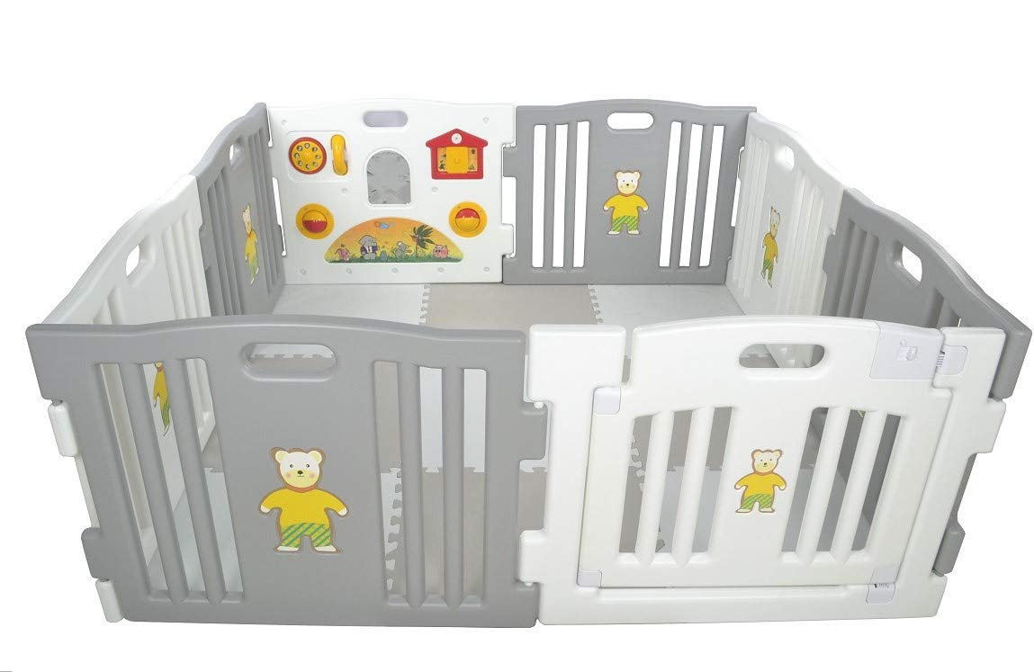 Millhouse Plastic Baby Playpen with Activity Panel with Play Mats Included (Grey & White with Mats) Millhouse Millhouse Plastic Baby Playpen 8 Sides with Activity Panel WITH Grey and White PLAYMATS / 9 Play Mats Included (Individual Size: 49 x 49 x 1 cm / Total Play Mats Size: 148 x 148 x 1 cm) / Suitable age range: 6 - 24 months Playpen with 8 Panels (Including 1 White Door Panel, 1 White Play Panel, 6 Normal Panels - 4 Grey + 2 White) Single Panel Size: 79 x 63 cm / Total Playpen Size: 157 x 157 x 63 cm / Packaging Size: 80 x 41 x 64 cm / PLEASE NOTE: Please note the suction caps will only stick on tile / wooden / laminate flooring and any dust on the floor or suction caps will prevent the suction from working. These are not suitable for sticking on carpet. 6