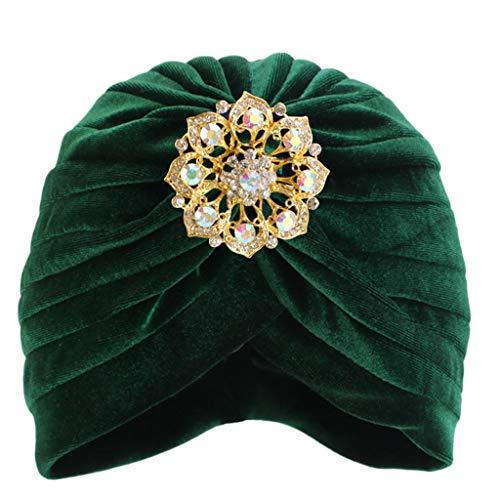 VRTUR Turban Wrap Cap Damen Kopf Schal Hut Kappe Ethnisch Stoff Aufdruck Make up Hut Damen Stretch Blume Muslime Kopftuch