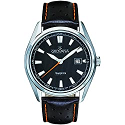Grovana Men's Quartz Watch with Black Dial Analogue Display and Black Leather Strap 1584.1539