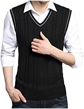 Zhhlaixing De los hombres Mens Men Classic Style Soft Cotton V-neck Pullover Knitted Knitwear Jumper Vest Waistcoat...