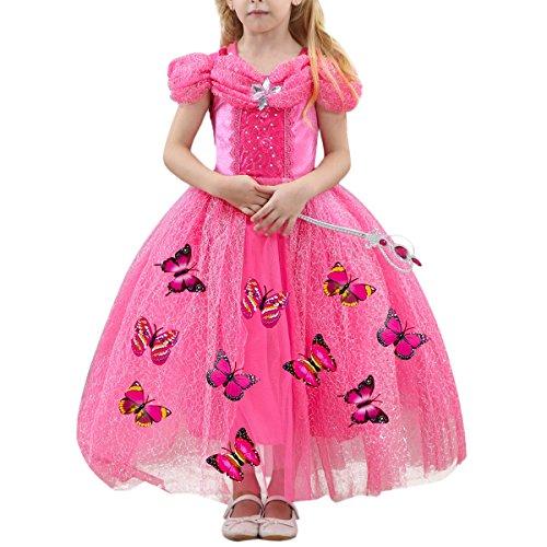 Kostüm Rosa Kleid Cinderella - IWEMEK Karneval Mädchen Prinzessin Cinderella Schmetterlinge Maxi Kleid Aschenputtel Kleid Prinzessin Kostüm Schmetterling Mädchen Halloween Weihnachtsmädchen Cosplay Heißes Rosa 6-7 Jahre