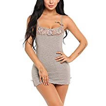 Zeela Ropa Interior Mujer Pijama de Encaje Sexy Camisón Sexy Picardías ddb150d5e879