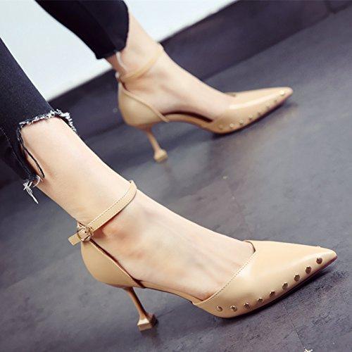 SHOESHAOGE Talon Moyen Saison Chaussures Tempérament Pointu Talons Talon Fine Un Mot Creux Sandales Boucle Couleur unie