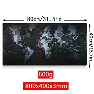 yingnew Extended XXL Cool Mauspad für Gaming und Büro Arbeit, rutschfeste Gummibasis Mousepad, Ultra Glatte Lycra Stoff, Größe 80cm x 40cm x 3mm (Weltkarte)
