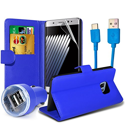 HTC U11case/HTC U 11case * Supreme Essentials Pack * portafoglio Folio card slot custodia pelle + tipo C dati cavo di ricarica + Dual Bullet Car charger + pellicola proteggi schermo LCD foil Guard–(blu)