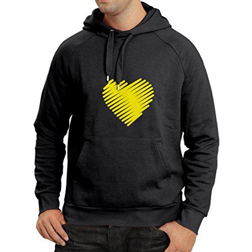 N4014H Felpa con cappuccio Stylish Heart St. Valentines Nero Giallo