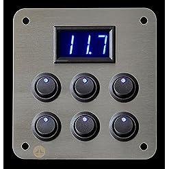 Lek Tek – Pannello da 6 interruttori LED blu con voltmetro per camper, autocaravan, imbarcazione, furgone per trasporto animali, da 12V, a 16A, in acciaio inox spazzolato