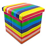 Faltbare Sitzhocker Box - Regenbogenfarben 38 x 38 x 35 cm - Kunstleder Aufbewahrungskiste mit Sitzpolster - Grinscard