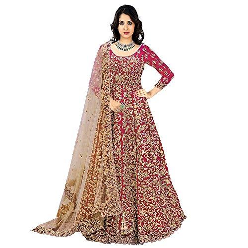 Aryan Fashion Women Banglory Silk Anarkali Semi-Stitched Salwar Suit (AFS-AGAEV11144_Pink_Free Size)