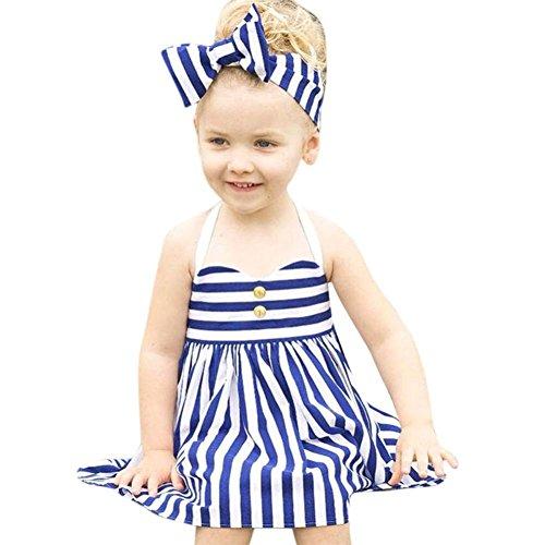 Mädchen Kleid Internet Sommer Prinzessin Kleid und Stirnband 2PCS Sets (Kostüm Buff Baby)