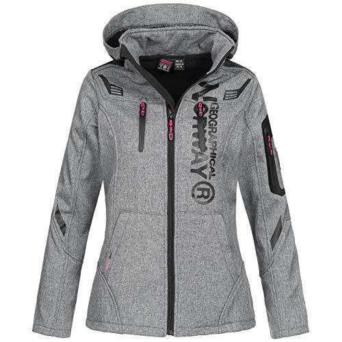 Geographical Norway Damen Softshell-Jacke Truffe mit Kapuze Light Grey S