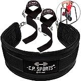 C.P.Sports - Cintura per Sollevamento Pesi + ausilio per trazioni, Colore: Nero