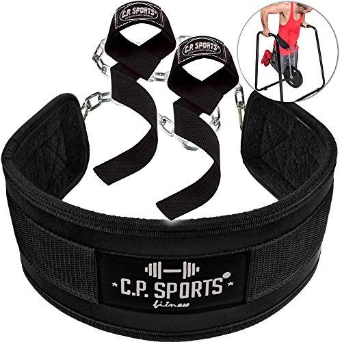 C.P.Sports Set Dip-Gürtel + Zughilfe schwarz, Dipgürtel, Dipping Belt, Klimmzug Gürtel, Lifting Straps für Bodybuilding, Fitness & Kraftsport -