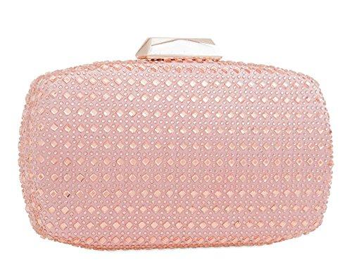 NEU Hart kompakt Strass Detail Damen bräutlich Abend Clutchbag Portemonnaie - Rot, Small Rosa