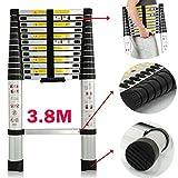 3.8M 12.5Ft escalera telescópica extensible extensión 13pasos multiusos ligero de aluminio para casa?oficina