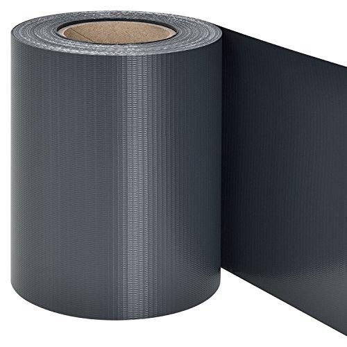 Juskys PVC Sichtschutzstreifen Doppelstabmatten Zaun | 35m x 19 cm | 30 Befestigungsclips | anthrazit | Zaunfolie Sichtschutz Windschutz