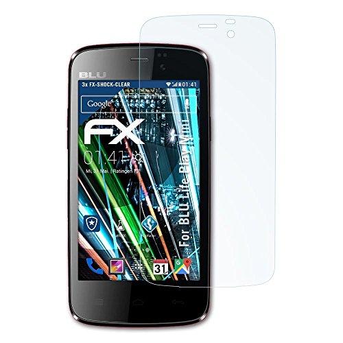 BLU Life Play Mini Folie - 3 x atFoliX FX-Shock-Clear stoßabsorbierende ultraklare Panzerfolie Displayschutzfolie (Displayschutzfolie Für Blu Life Play X)