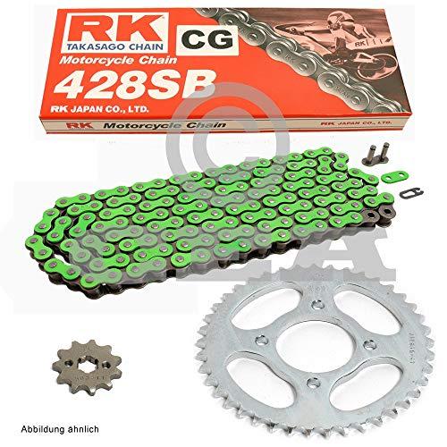 Kettensatz geeignet für Yamaha YZF R125 08-18 Kette RK CG 428 SB 132 offen GRÜN 14/48 -