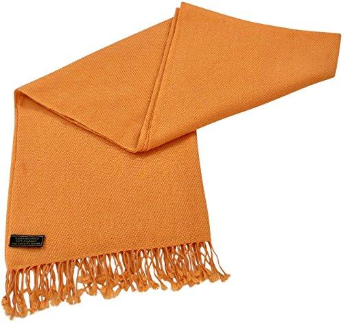 Kürbis-Orange Hochgradige 100% Kaschmir zweilagige Schals handgemacht in Nepal Schultertuch Schal Umschlagtuch -