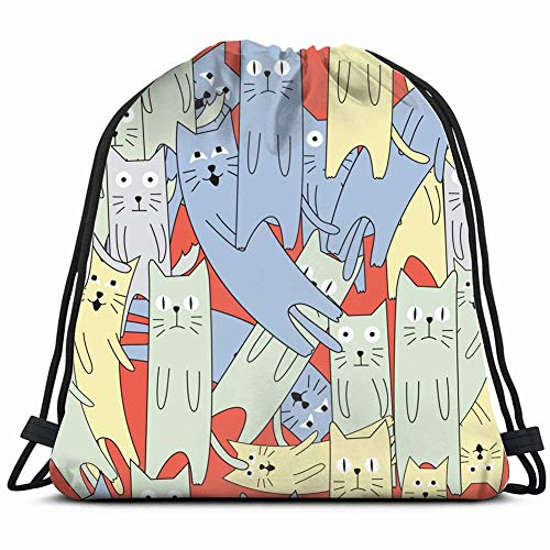 DHNKW Cute cat Cartoon Pattern Animals Wildlife Special Backpack Sack Bag Gym Bag for Men & Women 17X14 Inch
