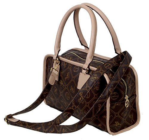 Merano - feiner Shopper Long-Format kleine Handtasche All-over Muster ca. 35x19,5x9,5 cm (B x H x T) Coffee/Beige