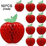 Boao 10 Packungen Bienenwabe Seiden Papier Apfel Hängen Papier Apfel Obst Dekoration für Schul Garten Party Dekoration, Rot (7 Zoll)