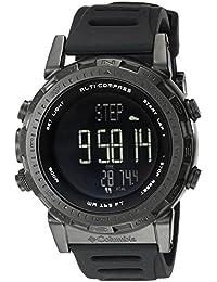 De cuero de los hombres de color negro del reloj del barómetro altímetro brújula de Columbia CT013-001
