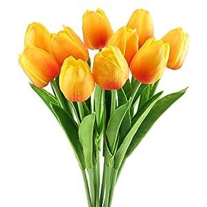 HUAESIN 20Pcs FloresArtificiales Naranjas TulipanesArtificial Corona Falsas Flores de Plastico Ramo Flores Artificiales Colgantes para Exterior e Interior Navidad Boda Hogar Fiesta Toque Real