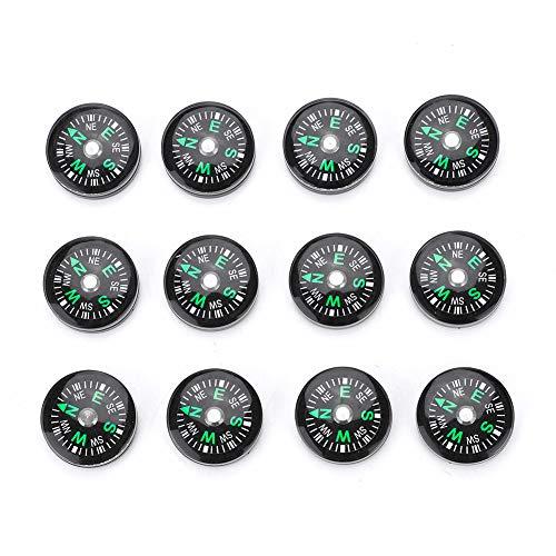 Alomejor 12 Stücke Mini Pocket Kompass 20mm Mini Kompass Überlebens-Taste Kompass für Wandern Camping Outdoor-aktivitäten Zubehör