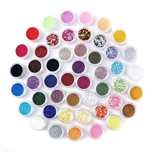 48x Poudre poussiere glitter paillette Gel Ongle Decor Nail art Pedicure