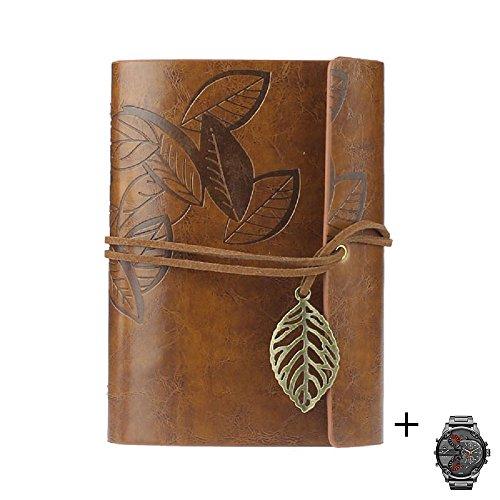 Ukamshop retro Blatt Lederbezug Buch leeres Notizbuch Zeitschrift Tagebuch Journalbuch Tagebuch braun+20pcs Uhren