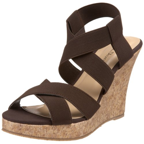 CL By Laundry Ionia Femmes Toile Sandales Compensés Dark Brown